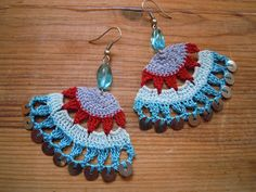 fanshaped crochet earings, multicolored by PashaBodrum on Etsy https://www.etsy.com/listing/211646384/fanshaped-crochet-earings-multicolored