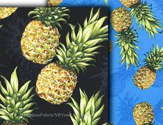 Your place to buy and sell all things handmade Pineapple Fabric, Tropical Fabric, Thing 1, Custom Curtains, Craft Patterns, Watercolor And Ink, Diy Kits, Shades Of Blue, Craft Supplies