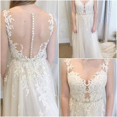 Avery ---> our new favorite gown here at the boutique! She's got a little bit of sparkle, a little bit of lace and tulle, and a killer neckline 😍