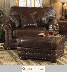 Outlaw Collection  Distressed, genuine top grain leather upholstery is complemented by a classic tooled design and accompanied by nailhead trim on the oversized Outlaw Collection.