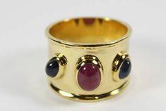 Sortija rubí y zafiro, joyas vintage, sortija antigua, joyas en oro,craftsman ring, Golden jewerly €399, £343,30