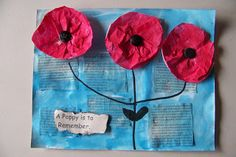 Our Remembrance Day art started with reading the book A Poppy is to Remember. We talked about the importance of November and about th. Veterans Day Poppy, Free Veterans Day, Veterans Day Activities, Poppy Craft For Kids, Art For Kids, Crafts For Kids, Remembrance Day Poppy, Group Art Projects, Poppies