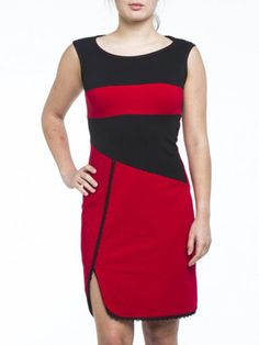 Kollontai sleeveless Yoko red and black dress with front side slit. – Silhouette Fashion Boutique