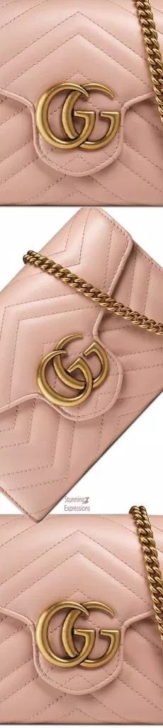 Gucci Marmont Chevron Quilted Leather Flap Wallet on a Chain Gucci Fashion, Fashion Shoes, Soft Pink Color, Gucci Marmont, Rose Gold Pink, Chevron Quilt, Pin Logo, Gucci Accessories, Quilted Leather