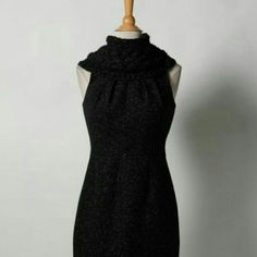 Elie Tahari sweater sheath dress Beautiful black wool dress in always flattering sheath silhouette. Features removable drape collar. Will keep you warm and stylish. Perfect for a day at the office. 1200 Elie Tahari Dresses