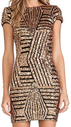 URqueen Women's Sequins Backless Cap Sleeve Bodycon Party Dress Gold M - Brought to you by Avarsha.com