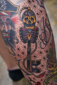 Skeleton key. Nice detail from Bryan Randolph at Traditional Tattoos