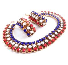 Vintage Bracelet & Earrings - Red White Blue Demi Parure by MaejeanVINTAGE, $14.00    #set #jewelry #red #white #blue #vintage
