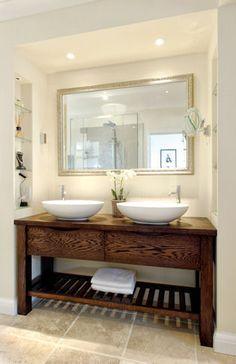 Handmade Free Standing Oak Bathroom Wash Stand with 2 BC Designs Tasse Thinn Basins