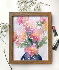 8x10 Art Print: Peonies | Etsy Watercolor Texture, Watercolor Paintings, Washington Square Park, Peonies, Paper Texture, This Is Us, Art Prints, Studio, Etsy
