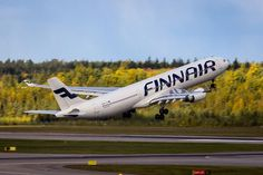 Finnair flight to New York taking off. Picture by @ovainio