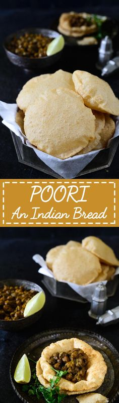 Poori. Puffed fried Indian bread made at special occasions. Food Photography and Styling by Neha Mathur.