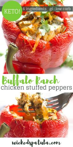 Ranch Chicken Stuffed Peppers Quick and easy this recipe for Buffalo Ranch Chicken Stuffed Peppers is perfect for weeknight meals!Quick and easy this recipe for Buffalo Ranch Chicken Stuffed Peppers is perfect for weeknight meals! Easy Paleo Dinner Recipes, Best Paleo Recipes, Meat Recipes, Vegetarian Recipes, Easy Meals, Healthy Meals, Paleo Meals, Whole30 Recipes, Healthy Options