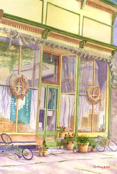 """Krys Gieskieng / Silver Plume Store Front  15 """"/22.5"""" Transparent Watercolor on 300LBS Fabriano"""