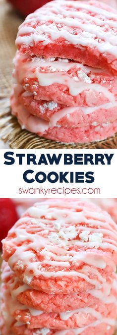 A summer favorite, these soft and chewy Strawberry Cake Mix Cookies are ready in Cookies - Easy Strawberry Cookies! A summer favorite, these soft and chewy Strawberry Cake Mix Cookies are ready in Dessert Simple, Dessert Blog, Köstliche Desserts, Dessert Recipes, Cake Recipes, Recipes Dinner, Casserole Recipes, Pasta Recipes, Crockpot Recipes