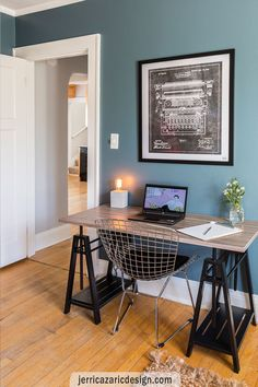 ZID injected an industrial feel in a classic Milwaukee area Craftsman bungalow through adding concrete counters and headboard, new lighting, paint and furniture.