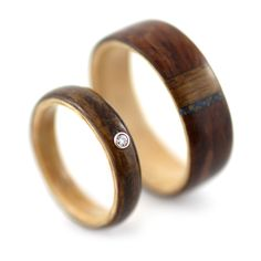 amazing natural, custom order wood wedding bands. Definitely the route I want to go!