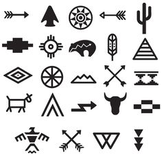 Tribal Symbols Tattoo Set – My World Native Symbols, Indian Symbols, Tribal Symbols, Native American Symbols, Mayan Symbols, Native American Design, American Indian Art, Native Art, Religious Symbols