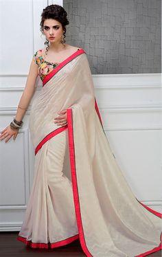 Picture of Elegant French Beige Saree in BhagalpuriSilk Fabric