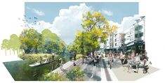 architecture Essentially given a blank slate, government planners today unveiled a blueprint for New Zealand's oldest city that replaces office towers with green spaces, urban apartments Collage Architecture, Architecture Graphics, Architecture Visualization, Architecture Drawings, Concept Architecture, Architecture Diagrams, Landscape Architecture Perspective, Modern Architecture, Architecture Definition