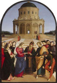 Rafaël, De verloving van Maria en Jozef, 1504, olieverf op hout, 170 x 118 cm, Pinacotheca di Brera, Milaan