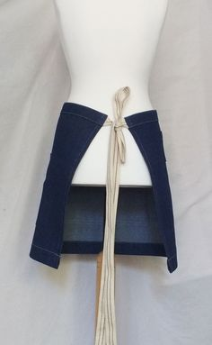 A shorter length No 12 apron specially made for a client - lovely woven cotton ties Waist Apron, Work Aprons, Denim Crafts, Half Apron, Craft Markets, Line Patterns, Woven Cotton, Card Reader, Ties