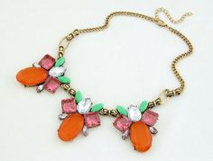J.Crew Vintage Delicate Colourful Gem Crystal Leaves Alloy Pendants Necklaces Lady Jewelry