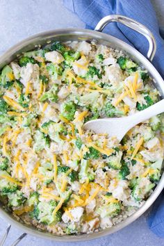This healthy One Pot Chicken, Broccoli and Rice Casserole is made all in one skillet in just 30 minutes. Your family will love this easy dinner recipe!