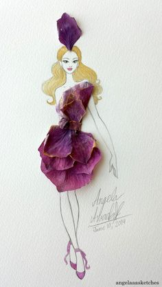 I decided to try another fashion illustration with real flowers because I had lots of fun making the first two This time I used orchids The links to the other two: angelaaasketches.deviantart.co&he...