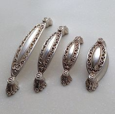 French Shabby Chic Dresser Drawer Pulls Handles / Antique Silver Cabinet Pull Handle Knobs Furniture Hardware Measurement: - A Length: Width: Hole Spacing (Center to Center): 5 When installed the knob sticks out 1 - B Length: Silver Furniture, Furniture Hardware, Shabby Chic Furniture, Shabby Chic Decor, French Furniture, Furniture Handles, Vintage Furniture, Diy Furniture, Dresser Handles