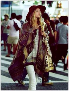 Urban/ Bohemian look out on the city streets complete with hat [ AlbertoFermaniUSA.com ] #winter #fashion #style
