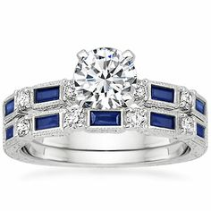 18K White Gold Vintage Sapphire and Diamond Matched Set from Brilliant Earth