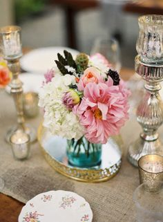 love the tray, different colored vases used, and candles - so pretty