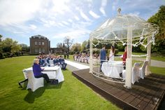 Bride & groom getting married outside in the Italian Garden in traditional style at Theobald's Park Hotel North London. Italian Garden, Park Hotel, North London, Flower Dresses, Special Day, Bride Groom, Getting Married, Wedding Photography, Table Decorations