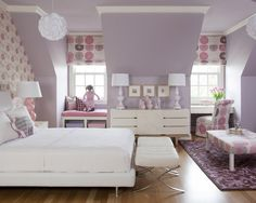 Are you looking for purple bedroom design concepts? Yup, as we already know, you can't never go wrong with purple. Pleased and regal, or soft and wonderful, the variety of purple tones is incomparable. Check out these purple bedroom ideas! Teenage Girl Bedroom Designs, Bedroom Design, Girls Room Design, Purple Bedrooms, Girl Room, Bedroom Wall Colors, Eclectic Bedroom, Bedroom Color Schemes, Remodel Bedroom