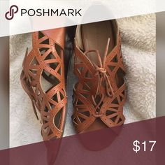 """Attention brown wedge sandals Super cute and unique. Remind me of gladiator sandals or """"Jesus sandals"""" as my mom calls them 😂😂 super cute in excellent condition. These do not have a size on them but I'm an 8.5 and they fit perfect. attention Shoes Sandals"""