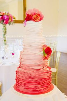 "Ruffled summer themed wedding cake. We can help achieve this look at Dallas Foam with cake dummies and cakeboards. Just use ""Pinterest2013"" as the item code and receive 10% off @ www.dallas-foam.com"