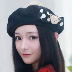 Bow bear beret hat for girls winter wool hats