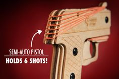 Load up to six rubber bands on to the gun.