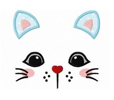 Kitty Cat Face 2 Applique - 3 Sizes!