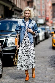 New York Fashion Week Street Style Spring 2018 | Denim #biker on #spotted dress