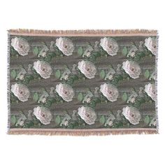 (Roses on Weathered Wood) Throw Blankets