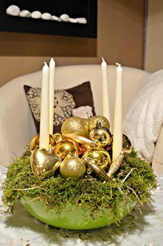 Christmas Bowl, Table Decorations, Gold, Home Decor, Homemade Home Decor, Interior Design, Home Interiors, Decoration Home, Home Decoration
