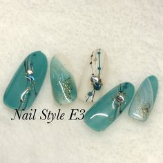 Fingernail Designs, Nail Art Designs, Summer Holiday Nails, Lily Nails, Manicure, Japanese Nail Art, Nail Candy, Green Nails, Gorgeous Nails