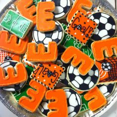Soccer cookie tray! Soccer Cookies, Cookie Tray, Cookie Designs, Baking Ideas, Softball, Cookie Decorating, Fundraising, Party Favors, Hockey