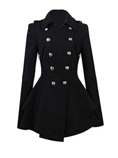 JollyChic Womens TurnDown Collar DoubleBreasted Slim Wool Peplum Jacket Coat 8 Black >>> Click on the image for additional details.