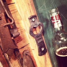 My own unique wall mounted bottle opener. Wall Mounted Bottle Opener, Beer Bottle Opener, Bottle Openers, Metal Projects, Welding Projects, Metal Crafts, Blacksmith Shop, Blacksmith Projects, Metal Fab