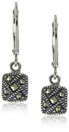 Judith Jack Sterling Silver Marcasite Square Drop Earrings