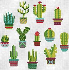 Cactus cross stitch pattern Ca