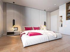 chambre cocooning avec linge de lit en blanc et rose, suspensions design et sol en parquet massif